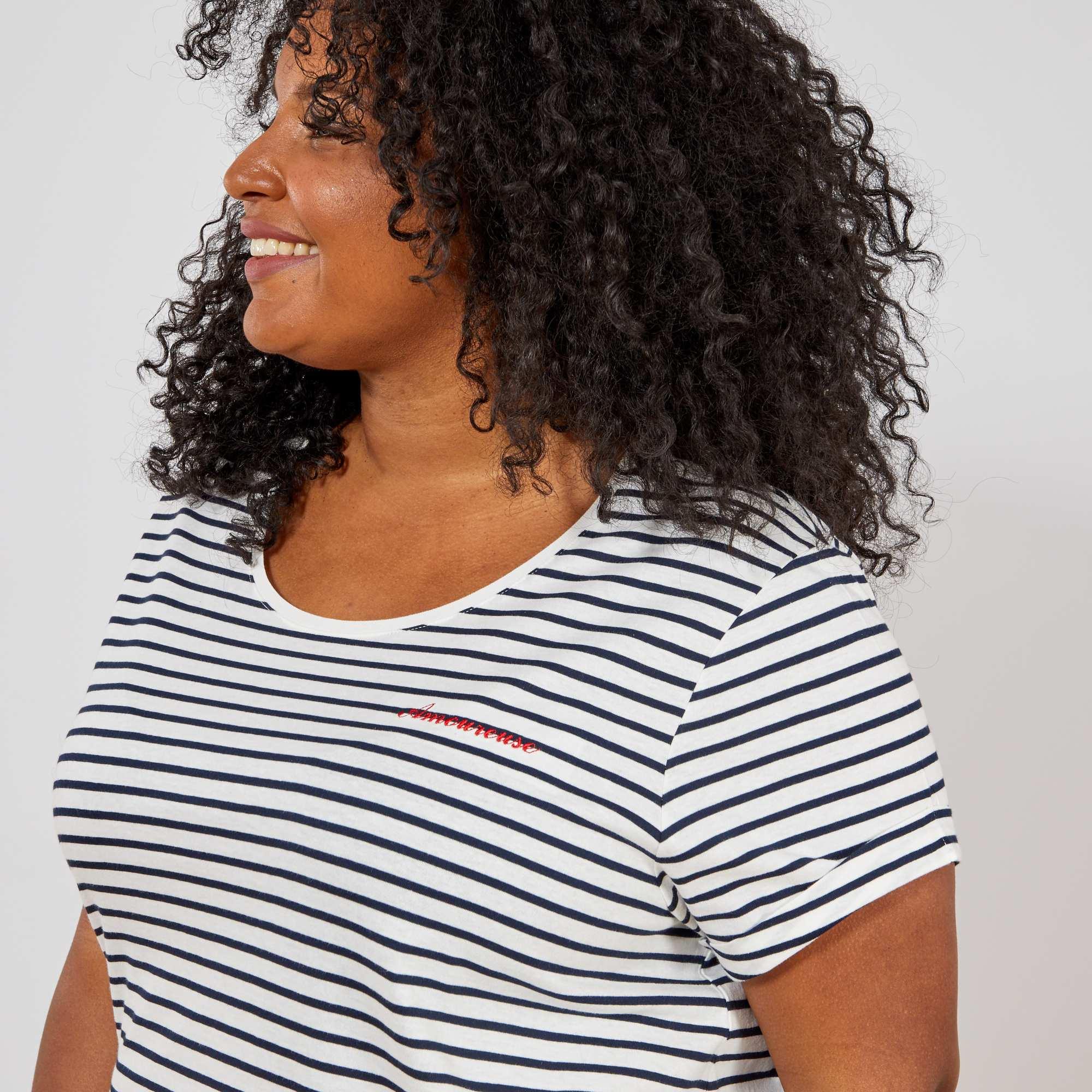 tee shirt message grande taille femme blanc imprim. Black Bedroom Furniture Sets. Home Design Ideas