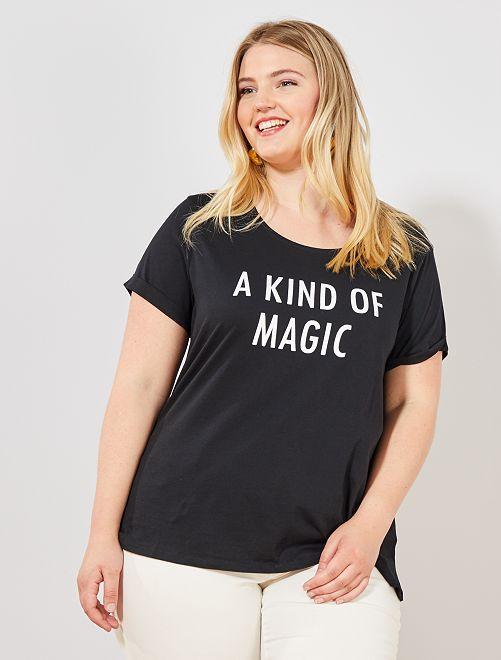 Tee-shirt à message                                                                                                     noir imprimé