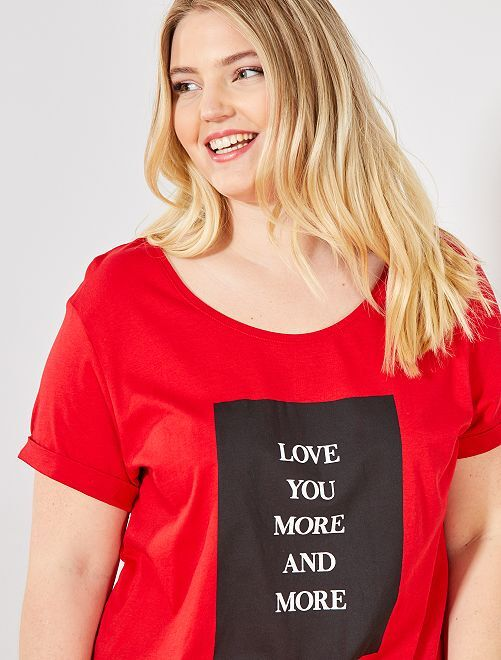 Tee-shirt à message                                                                                                                 rouge Grande taille femme