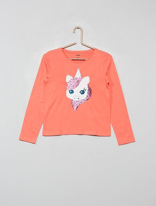 Tee-shirt à sequins éco-conçu                                 corail licorne