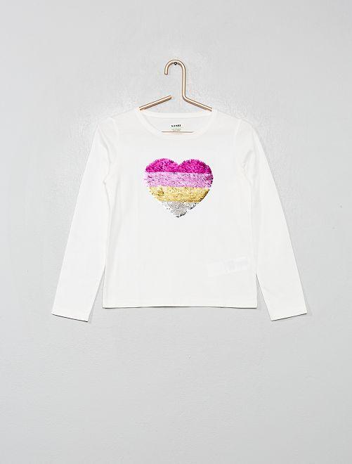 Tee-shirt à sequins éco-conçu                             écru