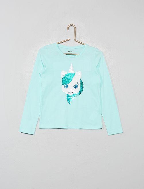 Tee-shirt à sequins réversibles 'éco-concpetion'                                                                 bleu vert licorne