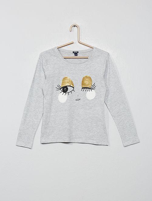 Tee-shirt à sequins réversibles                                                         gris