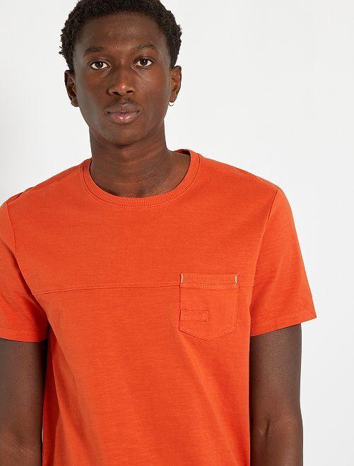 Tee-shirt avec poche poitrine                                         orange