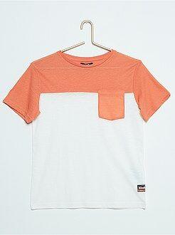 Garçon 10-18 ans Tee-shirt bicolore poche poitrine