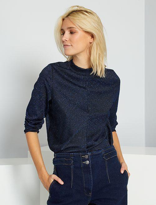 Tee-shirt brillant manches longues                                                     bleu océan