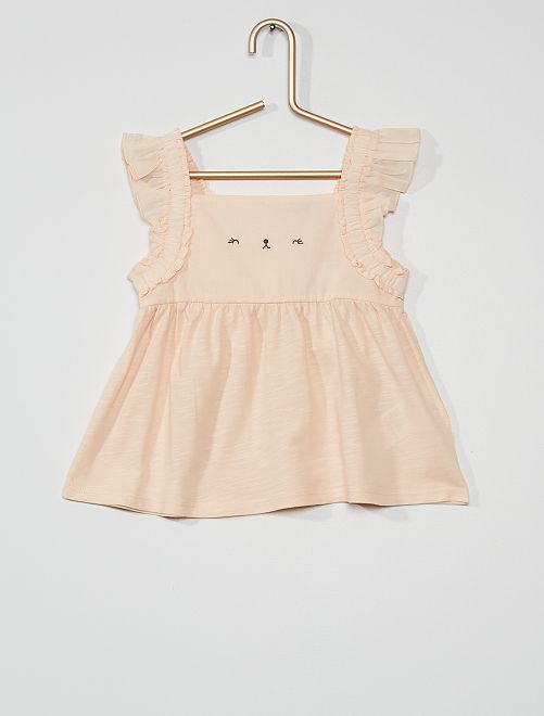 Tee-shirt brodé à volants                             rose