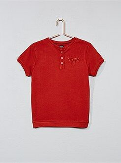 Tee-shirt brodé col tunisien - Kiabi