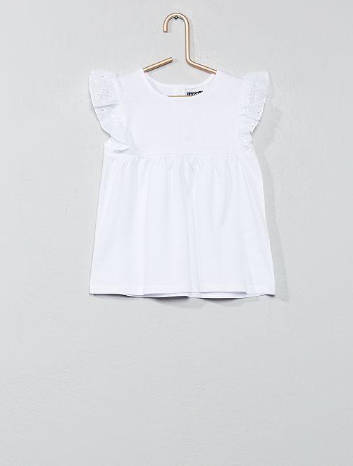 Tee-shirt broderie anglaise                                                     blanc Bébé fille