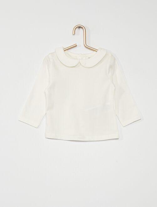 Tee-shirt col Claudine éco conçu                                                                 blanc