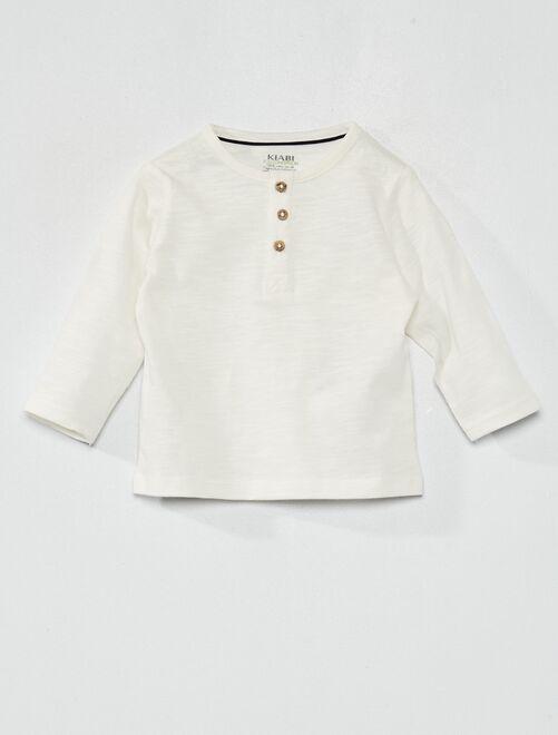 Tee-shirt col tunisien éco-conçu                                                                 blanc