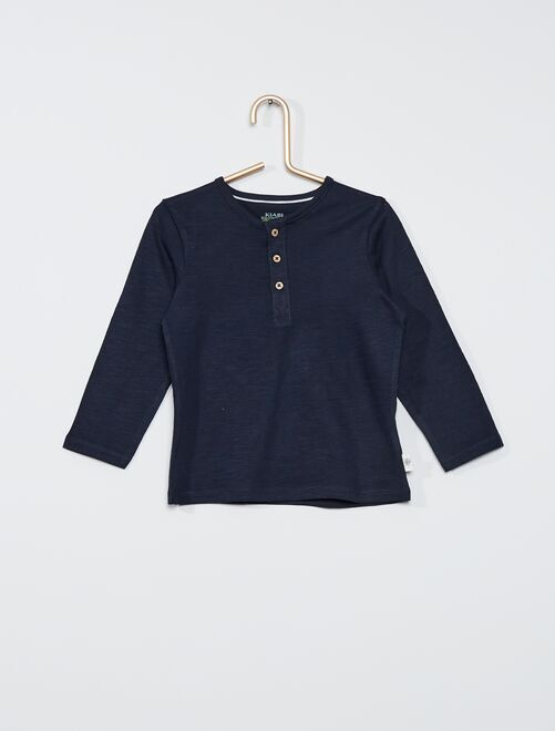 Tee-shirt col tunisien éco-conçu                                                     bleu marine