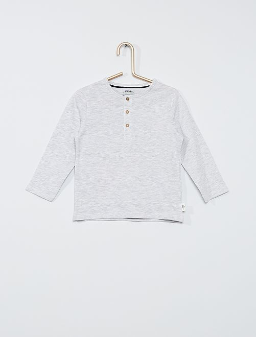 Tee-shirt col tunisien éco-conçu                                                                 gris