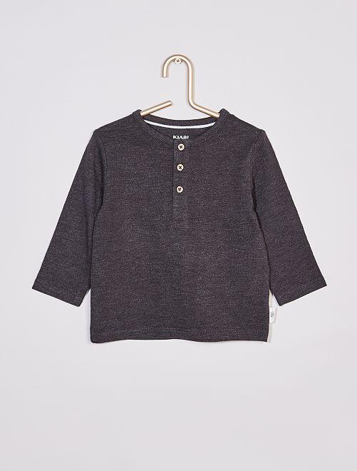Tee-shirt col tunisien éco-conçu                                                                             gris foncé