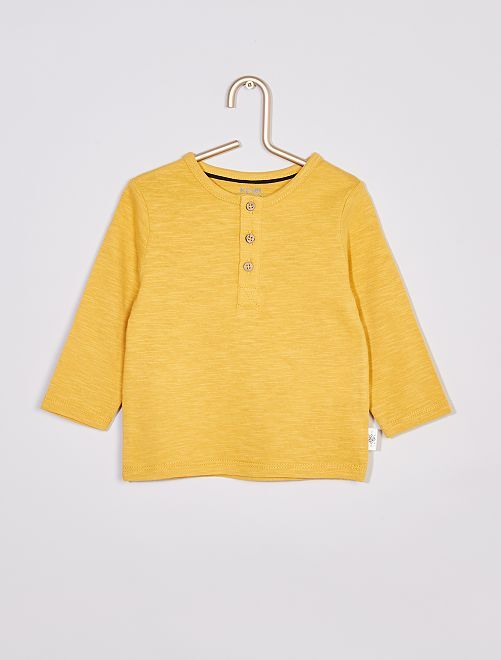 Tee-shirt col tunisien éco-conçu                                                                             jaune