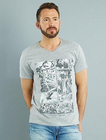 Tee shirt col V jersey imprimé