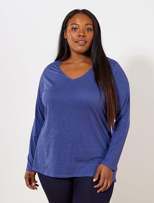 Tee-shirt col V manches longues maille flammée                                                                                                                                                                             bleu cobalt