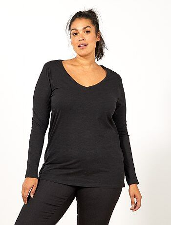 Grande taille femme - Tee-shirt col V manches longues maille flammée - Kiabi