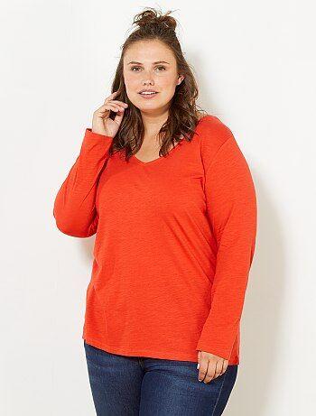 afa919174e3f3 Grande taille femme - Tee-shirt col V manches longues maille flammée - Kiabi