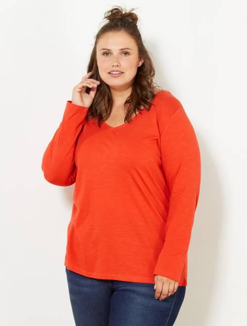 7e0882c48a3 Tee-shirt col V manches longues maille flammée orange Grande taille femme