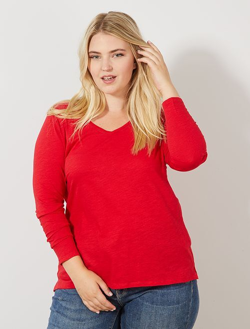 Tee-shirt col V manches longues maille flammée                                                                                                                             rouge