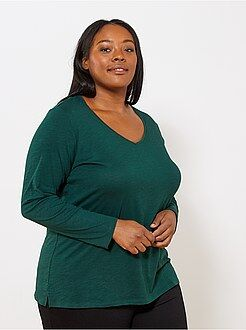 Grande taille femme Tee-shirt col V manches longues maille flammée