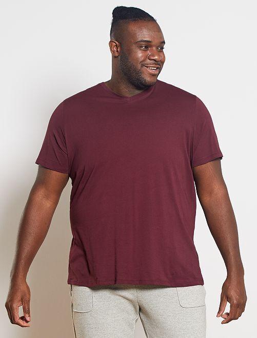 Tee-shirt comfort jersey uni                                                                                                                                                                             bordeaux