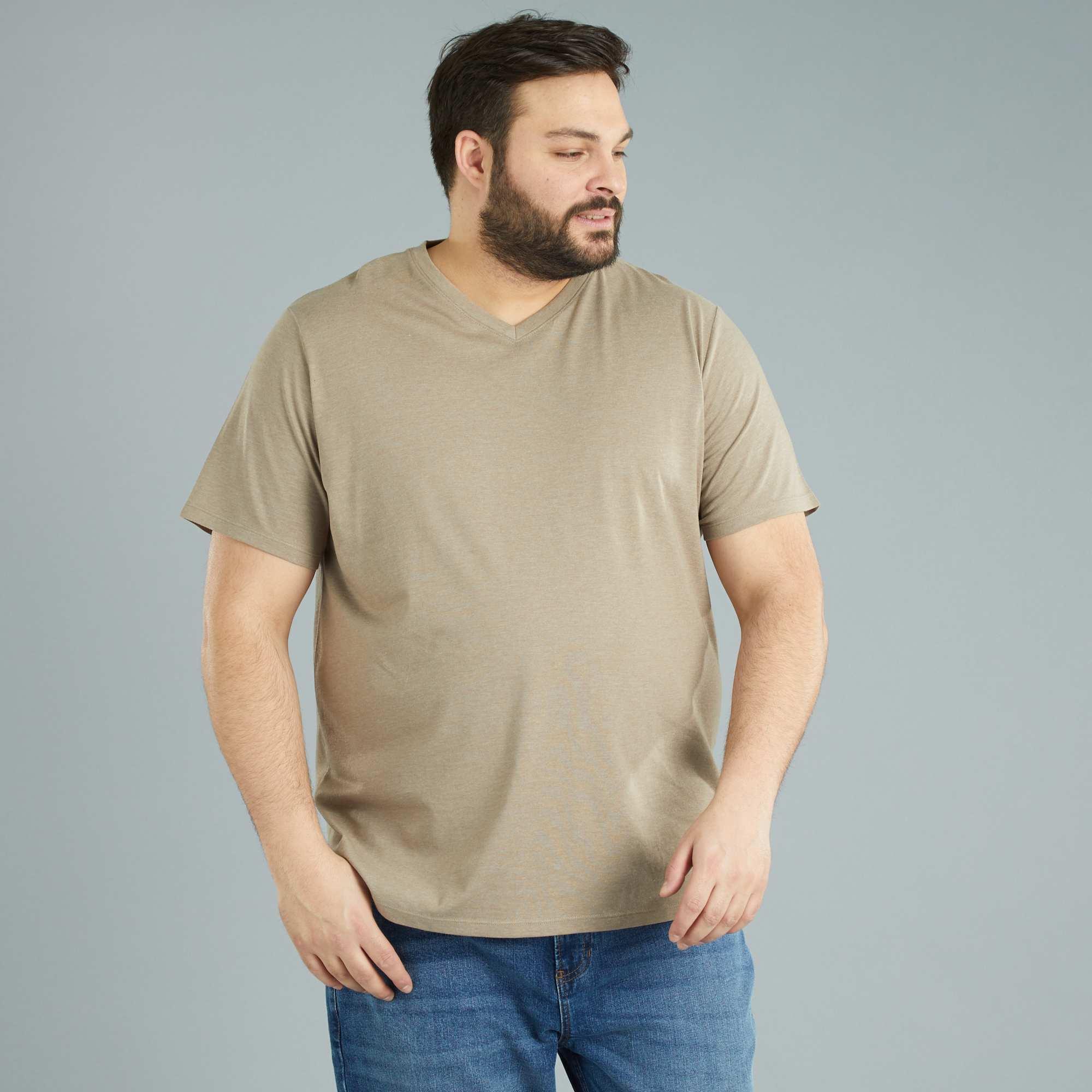 Couleur : blanc, bleu marine, gris chiné,beige chiné,orange vif - Taille : 3XL, 4XL, 5XL,6XL,7XLUn basique incontournable : le t-shirt à encolure V décliné dans un max' de coloris