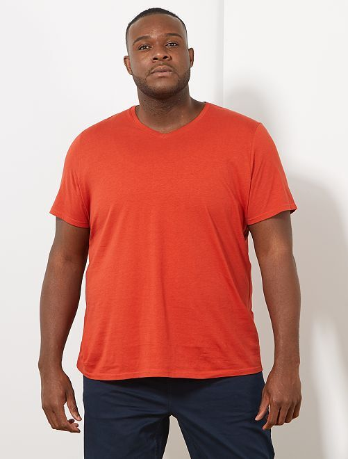 Tee-shirt comfort jersey uni                                                                                                                                                                 orange ketchup Grande taille homme