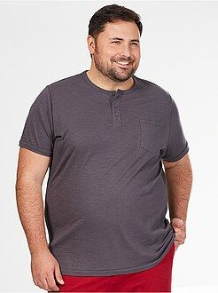 Grande taille homme Tee-shirt comfort pur coton col tunisien