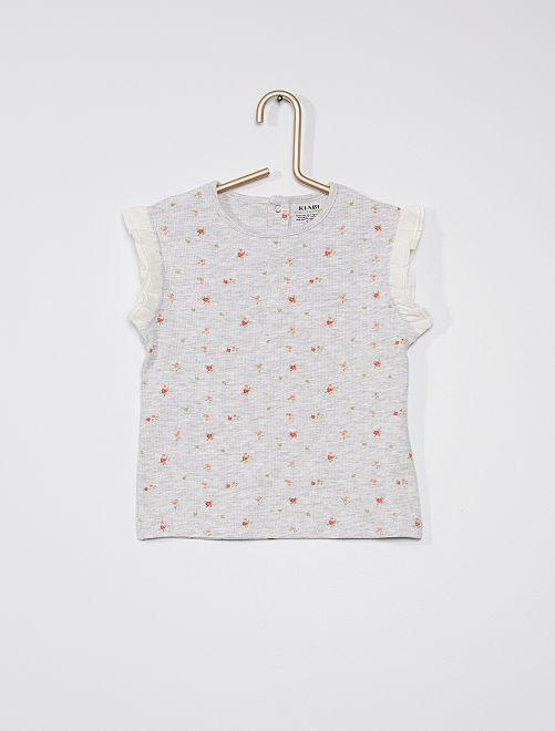 Tee-shirt côtelé avec manches volantée                                                                             gris