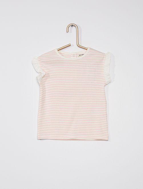 Tee-shirt côtelé avec manches volantée                                                                             rose