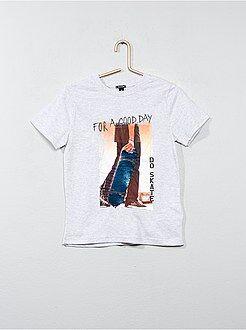 Tee-shirt coton avec sequins réversibles - Kiabi