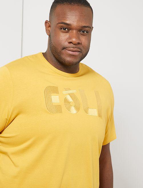 Tee-shirt coton bio brodé                                                                                                                                                     jaune eoli Grande taille homme