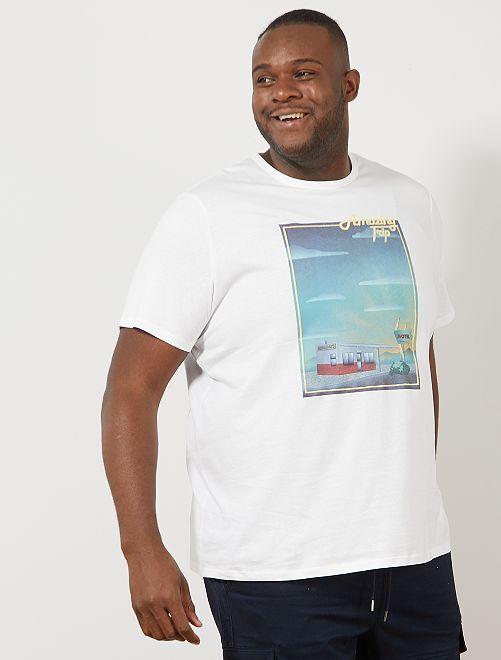 Tee-shirt coton bio imprimé                                                                                                                                         blanc amazing Grande taille homme