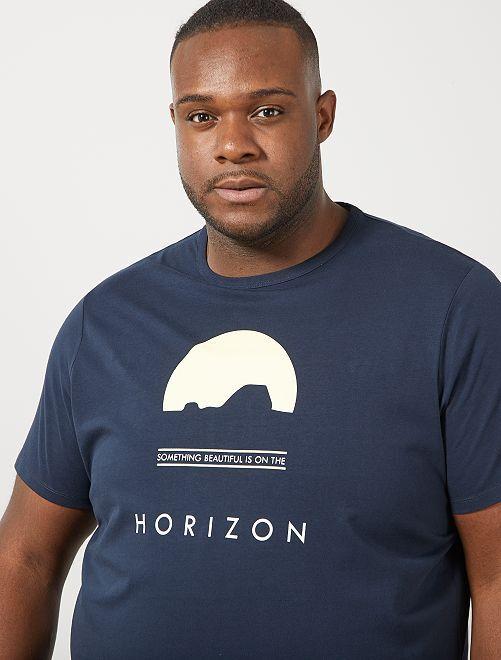 Tee-shirt coton bio imprimé                                                                                                                                                     bleu marine horizon Grande taille homme