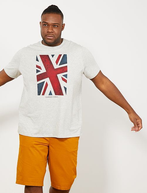 Tee-shirt coton bio imprimé                                         gris clair chiné camden Grande taille homme