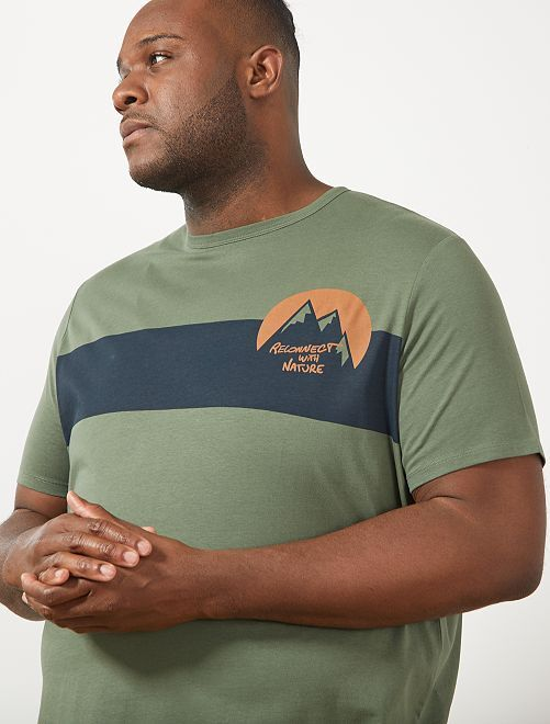 Tee-shirt coton bio imprimé                                                                                                     kaki/bleu marine