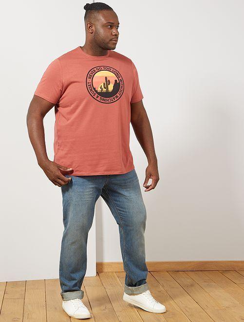 Tee-shirt coton bio imprimé                                                                                                                             rouge sunset