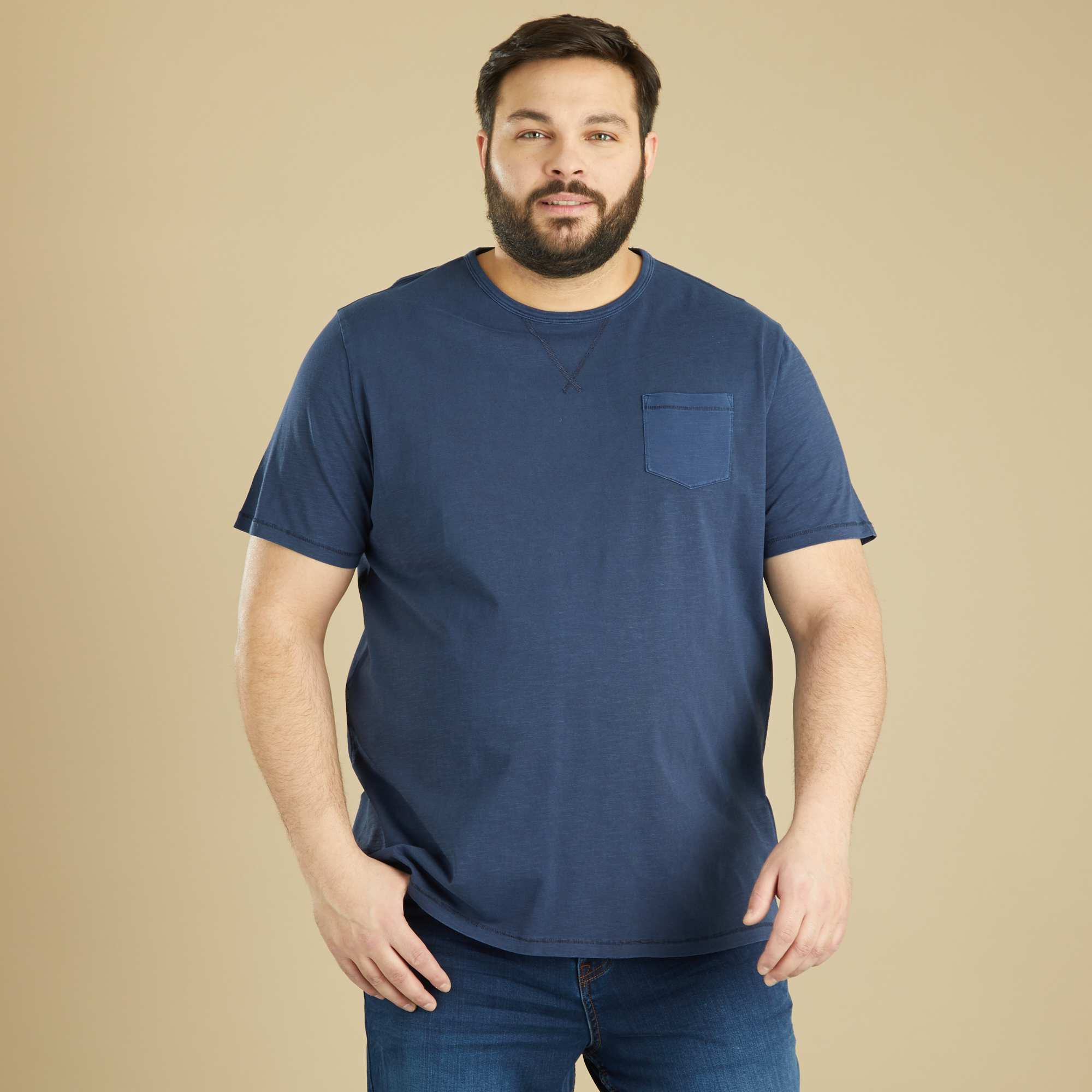 tee shirt coton flamm grande taille homme bleu marine. Black Bedroom Furniture Sets. Home Design Ideas
