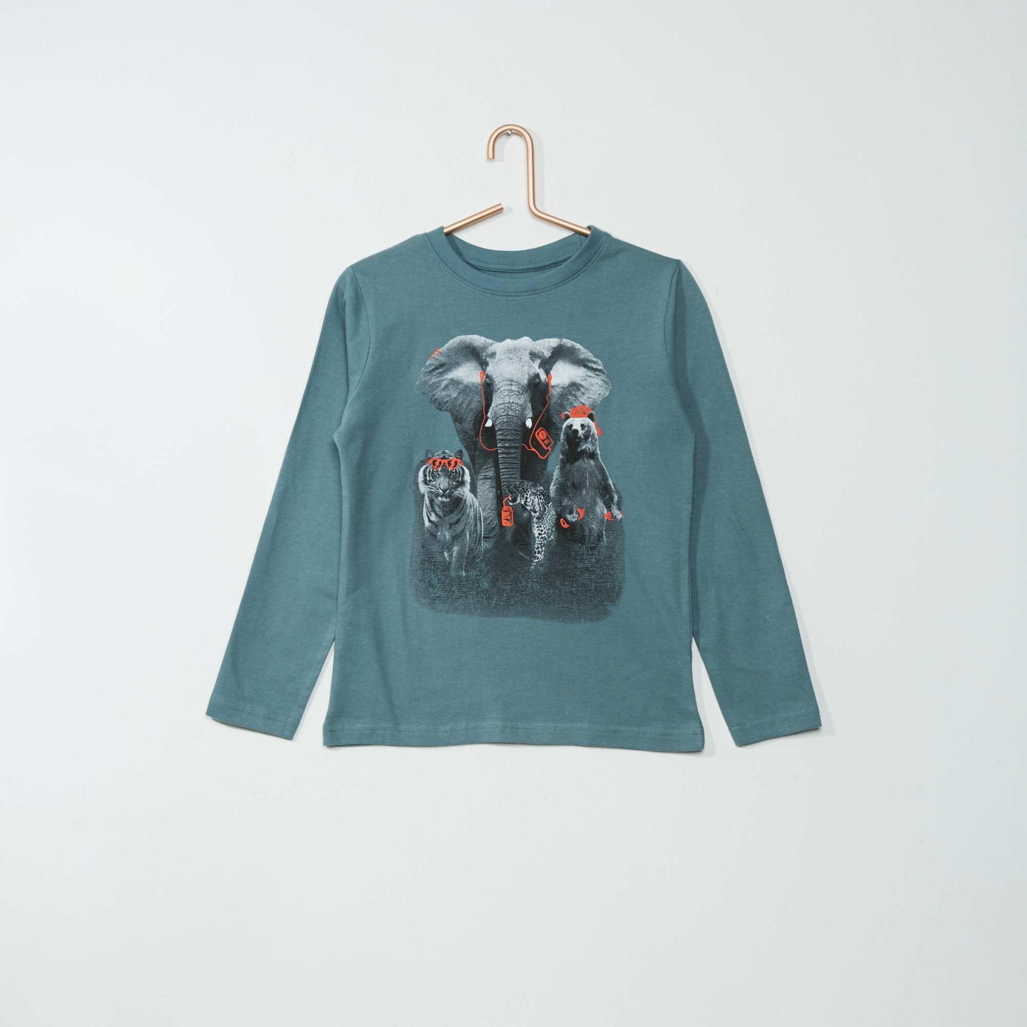 tee shirt coton imprim 39 animaux 39 gar on bleu gris kiabi 4 00. Black Bedroom Furniture Sets. Home Design Ideas