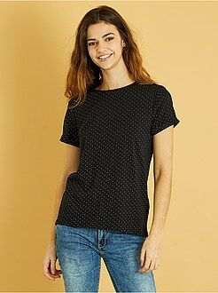 T-shirt, débardeur taille s - Tee-shirt coton manches courtes - Kiabi