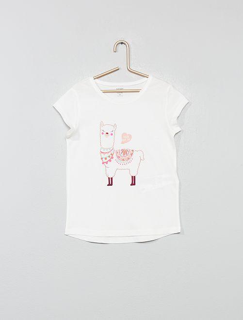 Tee-shirt 'éco-conception' imprimé                                                                                                                                                     écru lama Fille