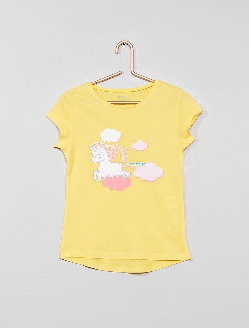 Tee-shirt 'éco-conception' imprimé                                                                                                                                                     jaune licorne Fille