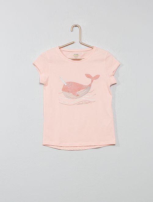 Tee-shirt 'éco-conception' imprimé                                                                                                                                                     rose baleine Fille