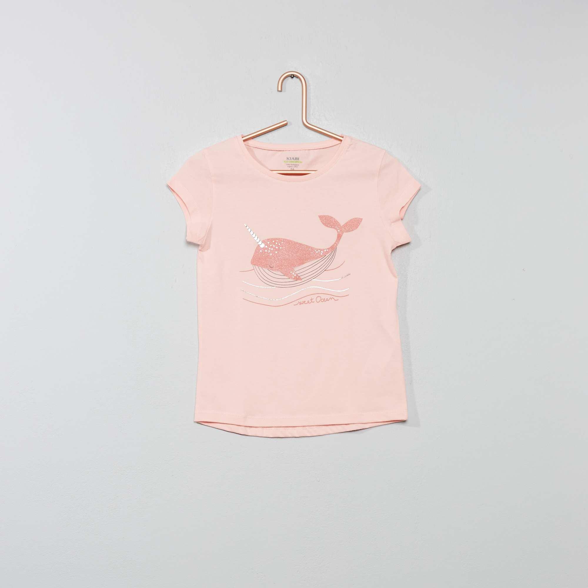 61d5710a61dd7 Tee-shirt  éco-conception  imprimé Fille - rose baleine - Kiabi - 4