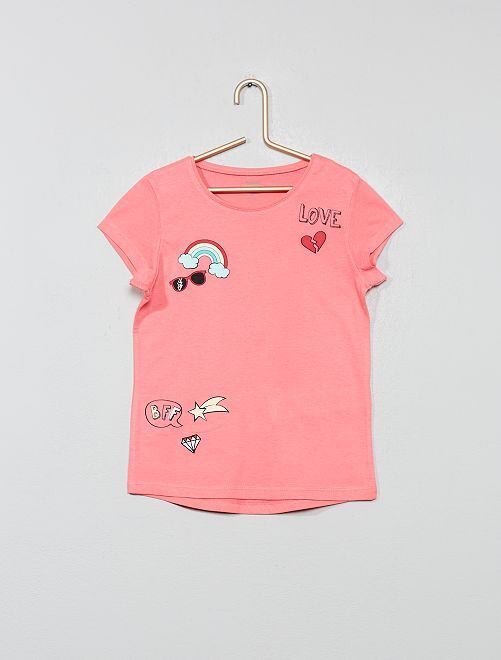 Tee-shirt 'éco-conception' imprimé                                                                                                                                                     rose patch Fille