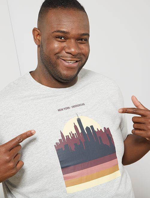 Tee-shirt éco-conçu                     gris clair chiné new york