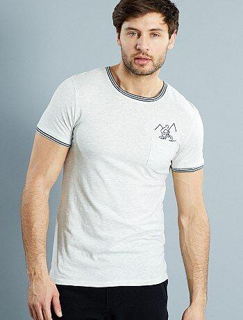 tee shirt en coton chin brod 39 v lo 39 homme kiabi 3 50. Black Bedroom Furniture Sets. Home Design Ideas