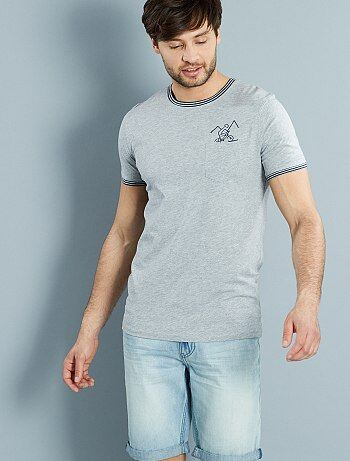 Tee shirt en coton chiné brodé `vélo`